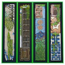 Natura e artificio N° 6 2010. Polimaterico su legno. Cm. 180 x 190
