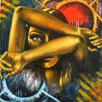 Antinomia,2014, tecnica mista( acrilico, smalto, stucco e gessi) su tela, cm 60 x 60