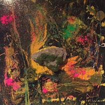 Terra promessa, 2016, mix olio su tela e pietra ready made, 50 x 50 cm