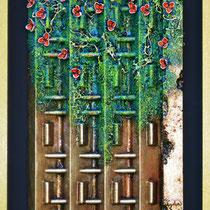 Natura e artificio N° 5. 2012. Polimaterico su legno. Cm. 53 x 73