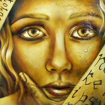 Adolescenza, 2014, tecnica mista su tela, cm 50 x 50.