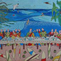 Ultima cena alle hawaii, 2013, acrilico tela, 50x70 cm