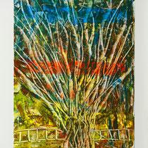 L'albero muscoloso-2014-Rullo,Smalto e Spatola su Cartoncino e Md Nobilitato bianco -35X50 cm