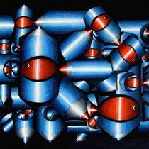 La società dei pesci rossi - 2014 - matite colorate e pennarello pantone su tela - 55x38 cm