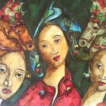 Tre donne intorno al cor mi son venute, e seggonsi di fore; ché dentro siede Amore, 2014, acrilico su tela.60×60
