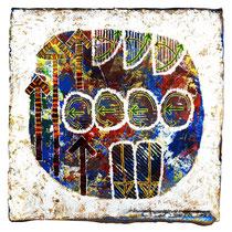 E.S.T.2, 2014, acrilico e smalto su terracotta, cm 20x20, CMXCV-995