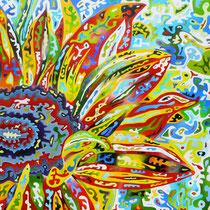Il Girasole, 2014, olio su tela, 80 x 80 x 4 cm