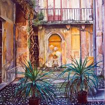 Cortile Antico, 1999, olio su tela, cm 60x40.