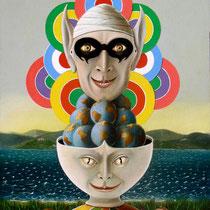 Maschera, 2000, olio tavola, 50x70 cm