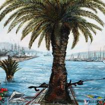 Ombra di palma al porto, 2006, mista olio acrilico, 60X50