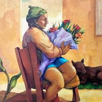RAGAZZA CON FIORI, 2001, olio su tela, 80 x 100 cm
