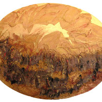 aratura, 2008, tecnica mista su tavola, 90x70 cm