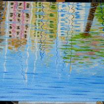 Riflessi nell'acqua del porto, 90 x 60 x 4 cm