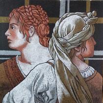 Incomunicabilità(ciclo Rivisitazioni),2013-Acrilici rame,ottone,argento,acciaio, su tela,cm 60x60