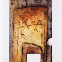 Tracce, 2001, incisione su masonite, 96 x 48 cm