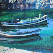 Barche alla fonda - 2013 - mista olio-acrilico - 40x60 cm