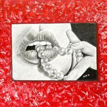 Boca con perlas, 2013, Tecnica mista su tela, 70x50