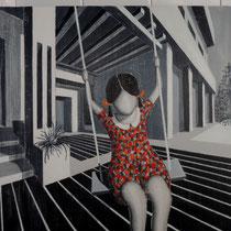 l'ALTALENA, 2014, acrilico su legno graffiato, 50 x 50 cm