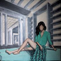 MARGHERITA, 2015, acrilico su legno graffiato, 70 x 70 cm