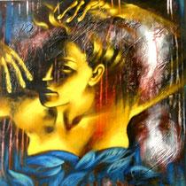 """""""Eccoti tra il fogliame azzurro della notte..."""", 2014, tecnica mista su tela, cm 60 x 60"""