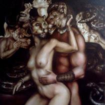 Danza Nuda In Maschera Tra I Serpenti, 2015, olio e acrilico su tela - 2015