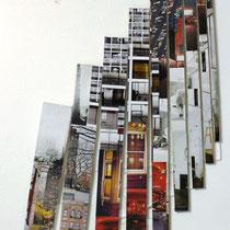 Prospettive su una città, anno 2014, tecnica mista su legno,misure 80 x 180 cm