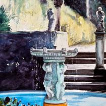 Fontana al parco Scherrer, 2014, acquerello su carta, 57x36 cm
