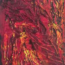 """""""Magma"""", 2014, Tessuto, acrilico, smalto su tela, 70x90 cm"""