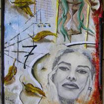 Clessidra e foglie, 2014, olio su masonite, 40 x 50 cm