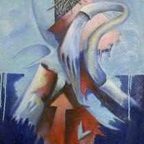 Lungo il fiume, 2013, olio, acrilico e sabbia su tela, 60 x 100 cm