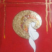 La Donna o Primo Mistero, 2010, mista(acrilico,foglia oro,carboncino su tela), 30x30 cm