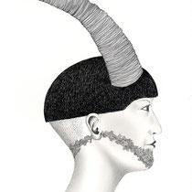 """la parte animale - s"", 2014, penna e matita su carta, 30x45cm"