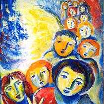 Maria Pia Cafagna, Bimbi, 2012, olio su tela, 60 x 90 cm