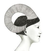 """la parte animale - m"", 2014, penna e matita su carta, 33x60cm"