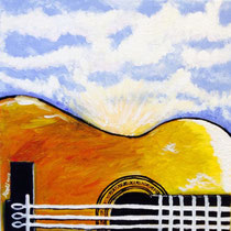 Guitarra e orgasmo, 2014, olio su tela, 30x30