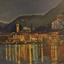 Laveno la Nuit, 2016, olio su tela, 50 x 35 cm