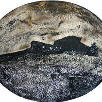 Notturno, 2008, tecnica mista (acrilico,tela,garza,cotone,frammenti di vetro)su tavola,115x95 cm