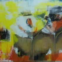 Maria Pia Cafagna, Fiori, 2015, acrilico e tela juta su tela, 70 x 100 cm
