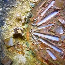 Energia della dea luna, 2013, strutture+fessure-farina di marmo di Carrara+legante-olio, 30 x 24 cm