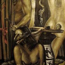 Donna Uccello, 2000, olio su tela