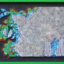Natura e artificio N° 4 2011. polimaterico su legno. Cm. 166 x 62