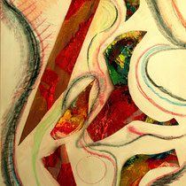 LA BALLATA DEL TORO, 2015, Collage: tecnica mista su tela, cm 70x100