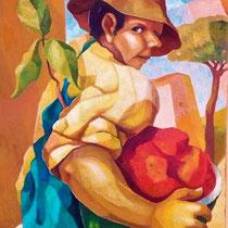 UOMO CON COCOMERO,2010, olio su tela, 35x50 cm