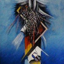 La colomba bianca, 2013, olio e sabbia su tela, 60 x 120 cm