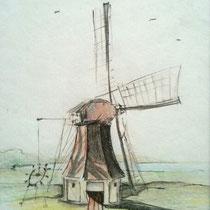 """""""Molen"""" 2009, inkt en kleurpotloden op papier"""