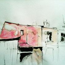 """""""Oud huis"""" 2007, inkt op papier"""