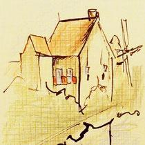 """""""Het huis"""" 2010, inkt en kleurpotlood op papier"""
