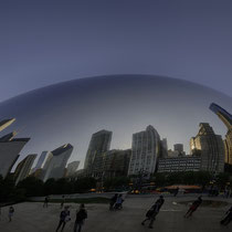 "Millennium Park (with the sculpture ""Cloud Gate"" aka ""the bean"")"