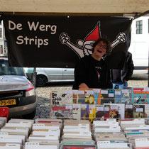 Onze kraam in Gouda bij Strips op de markt 2016