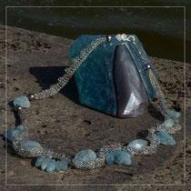 Strickcollier Aquamarin Silber